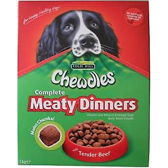Chewdles hund kødfulde middage oksekød 1kg (pakke med 5 stk.)