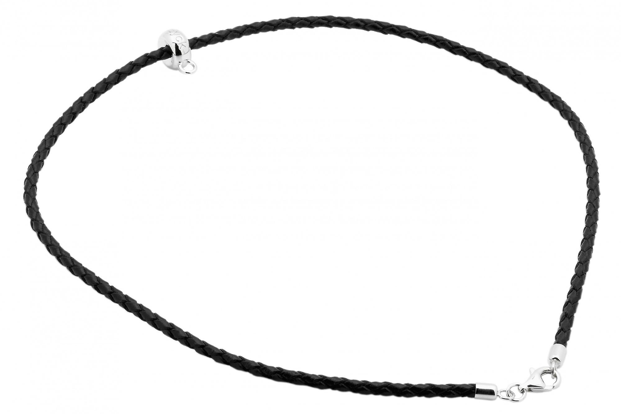 Burgmeister leather necklace plaited, JHE1061-429, 925 sterling silver rhodanized