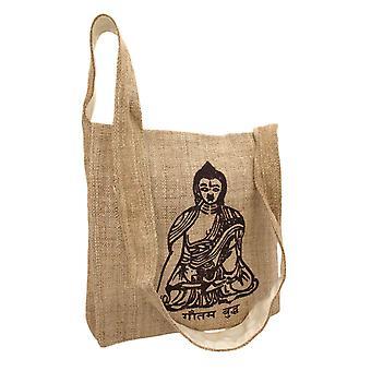 Natuurlijke kleur hennep tas met Boeddha