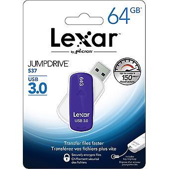 32GB Lexar JumpDrive S37 USB 3.0 Opblussen Drive. Stilfuld, drejelige design med automatisk løftbare stik og nøglering loop. LJDS37-32GABEU