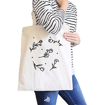 Icon Floral Pattern Natural Canvas Bag Versatile Teachers Tote Bag