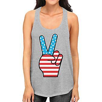 Segno di pace carino Womens serbatoi unica bandiera americana grigio Tank Top
