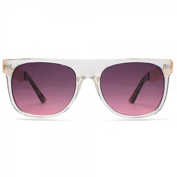 Miss KG Flat Top Sunglasses With Metal Temples In Crystal Clear Rose Gold
