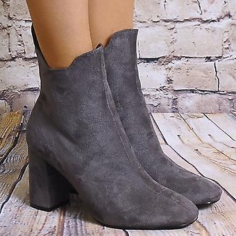 Shoe Closet Grey Ankle Boots - Ladies Td16 Grey Faux Suede Pull On High Heels Ankle Boots
