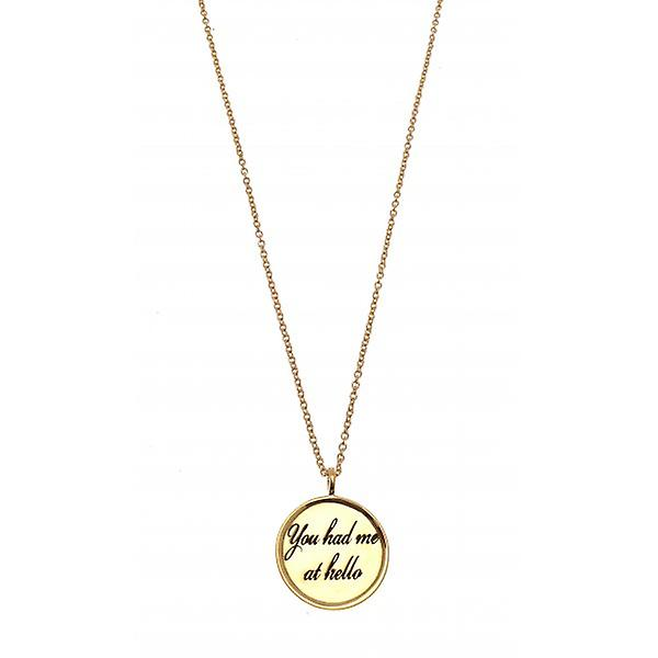 W.A.T Gold Plated 925 Sterling Silver 'You Had Me At Hello' Necklace By Kissika