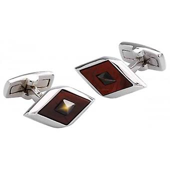 Duncan Walton Agden Brecciated Jasper and Mother of Pearl Cufflinks - Red/Silver