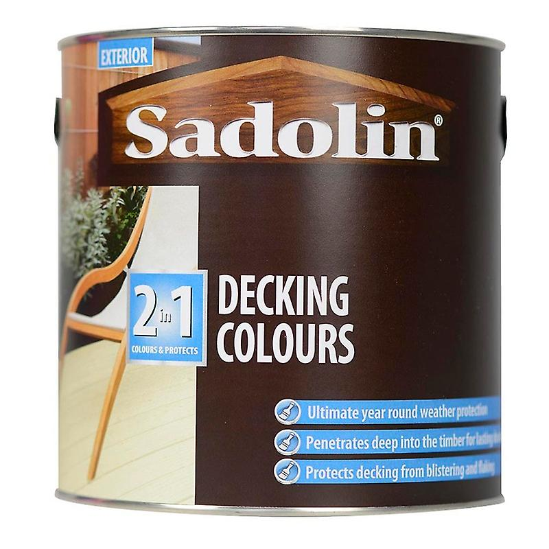 Sadolin 2 in 1 Decking Colours Paint Opal White Exterior Decorate 2.5L Durable