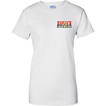 Angola Grunge Country Name Flag Effect - Ladies Chest Design T-Shirt