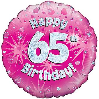 Oaktree 18 Inch Happy 65th Birthday Pink Holographic Balloon