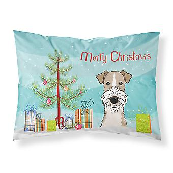 Christmas Tree and Wire Haired Fox Terrier Fabric Standard Pillowcase