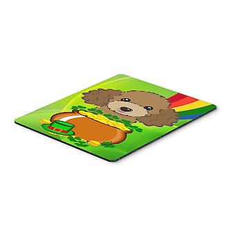 Chocolate Brown Poodle St. Patrick's Day Mouse Pad, Hot Pad or Trivet