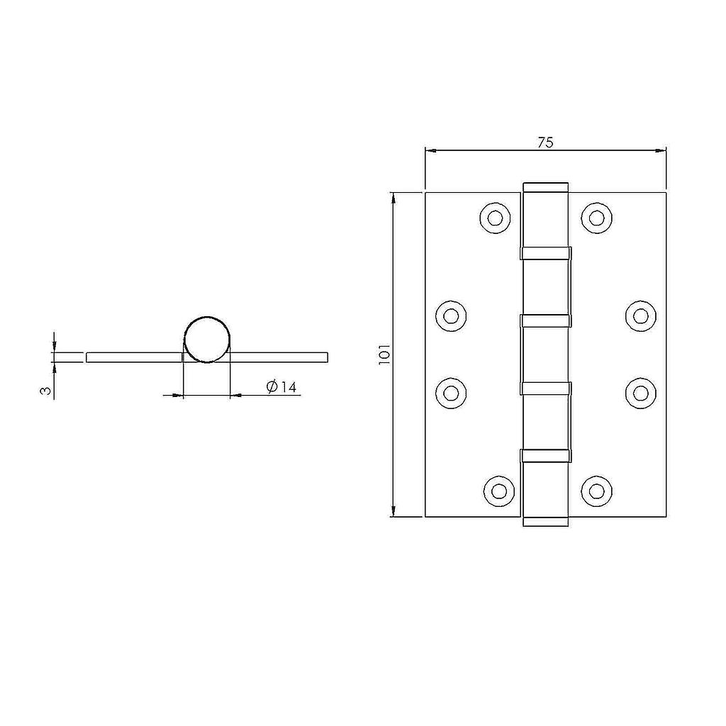 Premium Quality M4TEC ZC5 Polished Brass Coloured Brass Interior Butt Door Hinge - Sturdy, Durable & Easy To Install – Button Tipped With 4 Ball Race Bearings – Ideal For General Joinery & Furniture. 2pcs