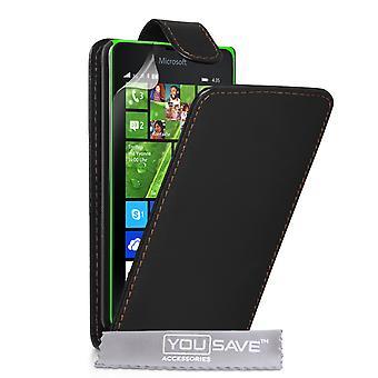 Yousave Microsoft Lumia 435 Leder-Effekt Flip Case - schwarz