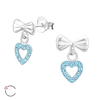 Bow With Hanging Heart crystal from Swarovski® - 925 Sterling Silver Children's Jewellery