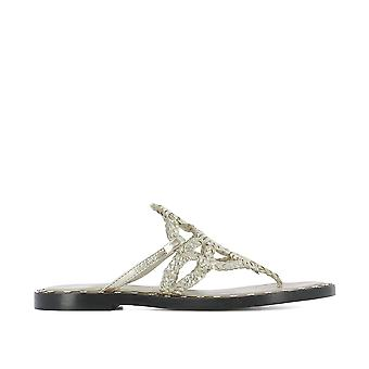 Pons Quintana women's 5878DIANAMETALPLATINO Silver/Gold Leather sandals