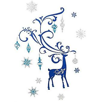Heaven Sends Blue Reindeer Frieze Christmas Decoration