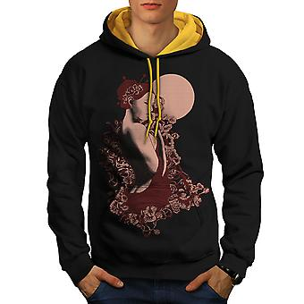 Nude Girl Girl Men Black (Gold Hood)Contrast Hoodie | Wellcoda