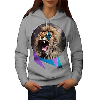 Lion Moon Nature Animal Women GreyHoodie | Wellcoda