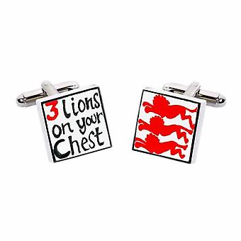 3 Lions on your Chest - Red Cufflinks by Sonia Spencer, in Presentation Gift Box