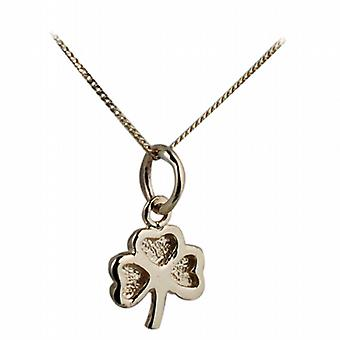 9ct Gold 9x9mm plain Shamrock Pendant with a curb Chain 16 inches