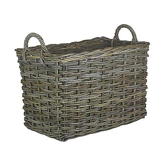 Small Rectangular Grey Rattan Hallway Log Basket