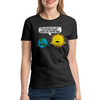 Humor World Revolves Women's Black T-shirt