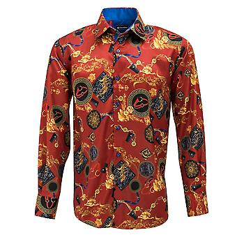 Oscar Banks Satin Gold Chains And Belts Print Mens Shirt