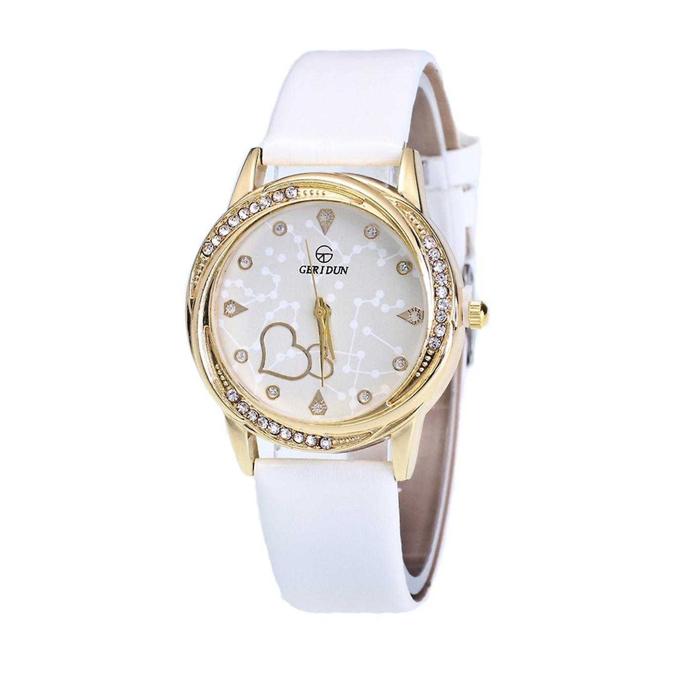 Classy Yellow Gold Heart White Watch Love Clear Time Elegant