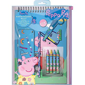 Peppa Pig Girls Bumper 10pc Stationery Wallet