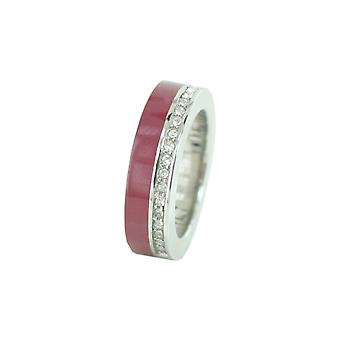 ESPRIT women's ring stainless steel Marin 68 glam silver / red ESRG11565J