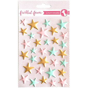 Freckled Fawn Puffy Stickers-Matte Pink, Mint & Gold Stars