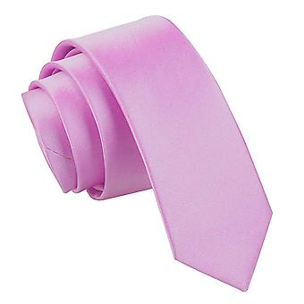 Lilac Plain Satin Skinny Tie