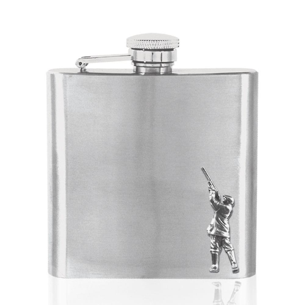 Shooting Pewter Badge on Stainless Steel Flask Set - 6oz