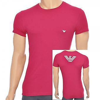 Emporio Armani águia Stretch Cotton gola t-shirt, Ruby, X-grande