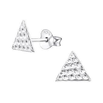 Triangle - 925 Sterling Silver Plain Ear Studs - W26692x