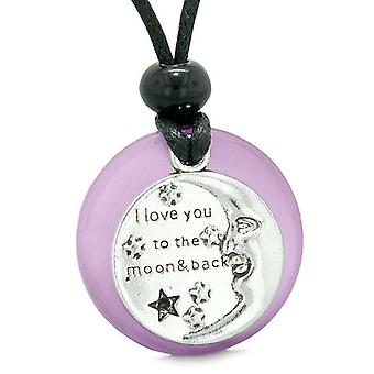 I Love You to the Moon and Back Magic Good Luck Medallion Amulet Purple Simulated Cats Eye Necklace