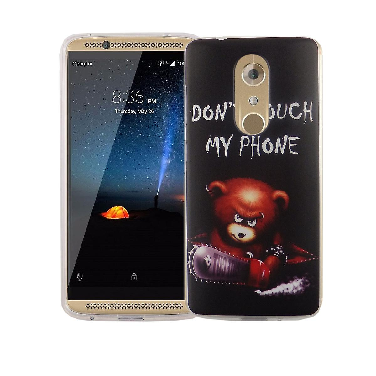 Cell phone case for ZTE Axon 7 cover case protective bag motif slim silicone TPU lettering bear with chainsaw
