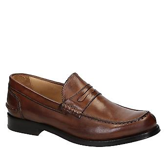 Men's italian penny loafers in brandy calf leather