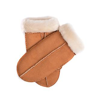 Classic Hand-Stitched Sheepskin Mittens in Tan