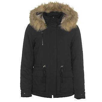 Only Womens Star Fur Parka Jacket Coat Top Hooded Zip Full Faux