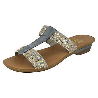 Ladies Rieker Jewelled Mule Sandals 63454