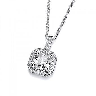 Cavendish francés CZ anillo solitario cuadrado colgante con cadena de plata de 16-18