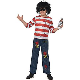 David Walliams Deluxe Rat Burger costume bambini rosso e bianco con Top Pantaloni parrucca occhiali bambini costume