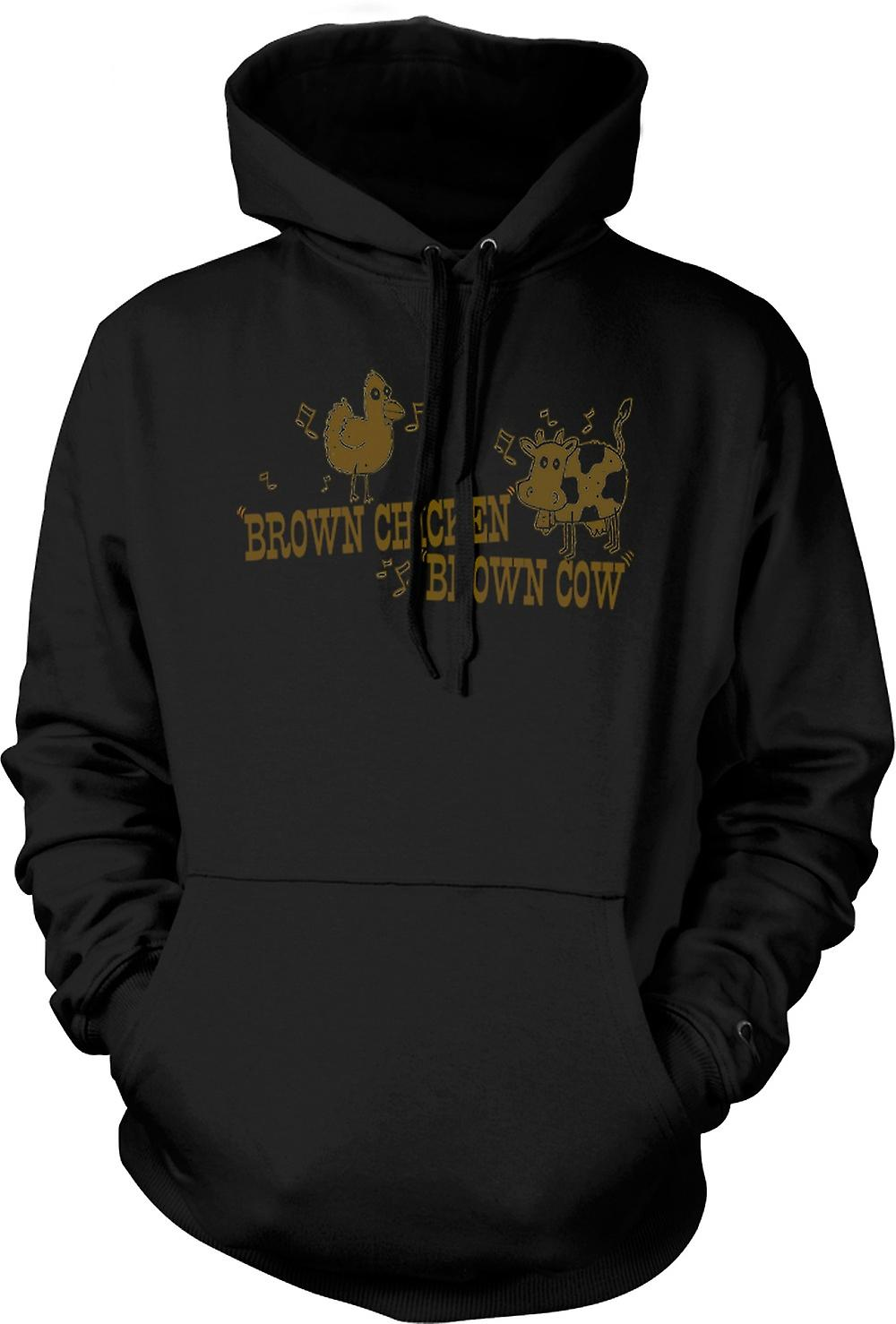 Mens Hoodie - Brown Chicken, Brown Cow - Quote