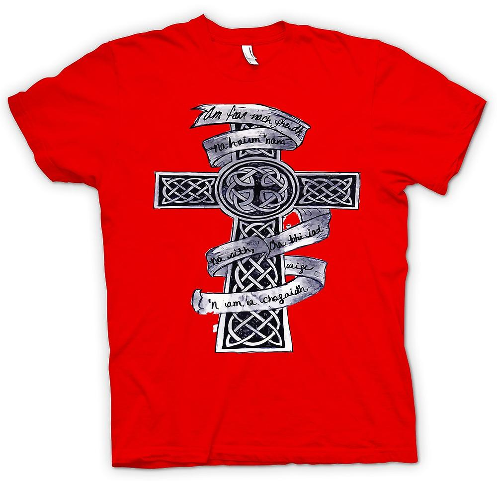 Heren T-shirt - Keltisch Kruis Tribal Tattoo