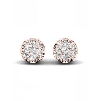 IGI-Certified-DeCouer-1/8-Ct-TDW-Diamond-10K-Rose-Gold-Cluster-Stud-Earrings-(H-I,-I2)