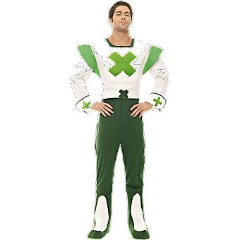 Mens Green Cross Code Man Road Safety 70s 80s Themed Fancy Dress Costume