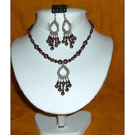 Swarovski Dark Brown Pearls Garnet Crystals Pendants Necklace Set