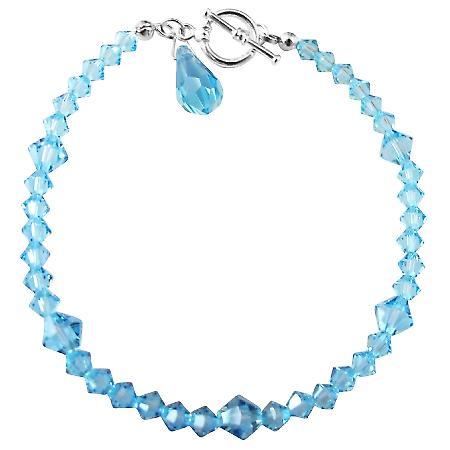 Aquamarine Blue Swarovski Crystals Teardrop Affordable Bracelet Gift