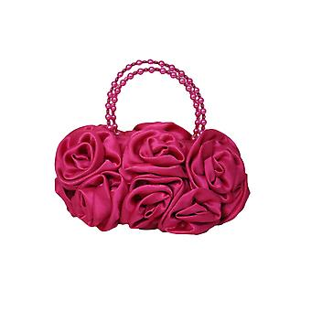 Fuchsia Satin Ruffle Rose Flower Girls Handbag